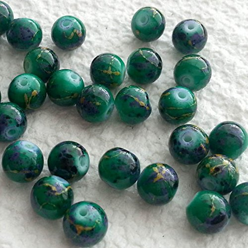 BSI - 50pcs Mix Artistic Designs Lampwork Glass Round Beads 8mm ~ Loose Beads~ (Green Ceramic (Green Lampwork Beads)