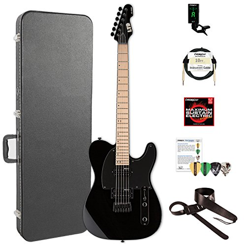 ESP LTE200MBLK-KIT-2 TE Series TE-200 MAPLE Electric Guitar, Black