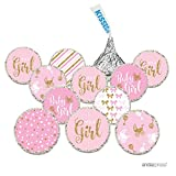 Andaz Press Chocolate Drop Labels Trio, Fits Hershey's Kisses, Ultimate Girl Baby Shower Collection, Pink and Gold Glitter, 216-Pack