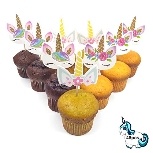 v39buy Pack Of 48 Unicorn Cupcake Toppers For Birthday Party Decorations - Rainbow Cake Topper Set For Baby Shower Supplies - Two Sides With Three Styles Including Cute Horn Card Board