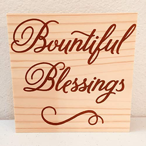 - Wooden Home Sign Thanksgiving Decorations Bountiful Blessings Fall Autumn Shelf Sign Fireplace Mantel Autumnal Office Desk Accessory Cabin Decor Plaque Gift