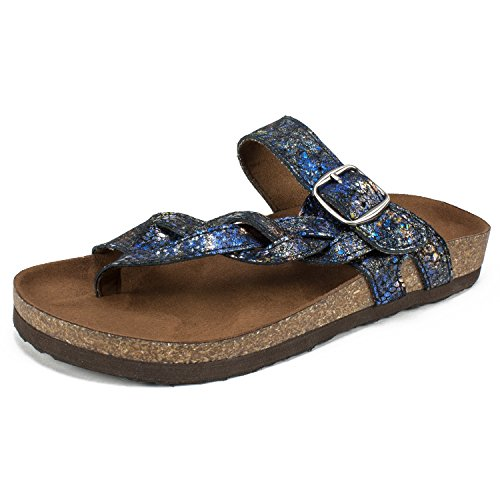 WHITE MOUNTAIN Shoes Honor Women's Sandal, Black & Blue/Suede, 7 M (White Shimmer 7)