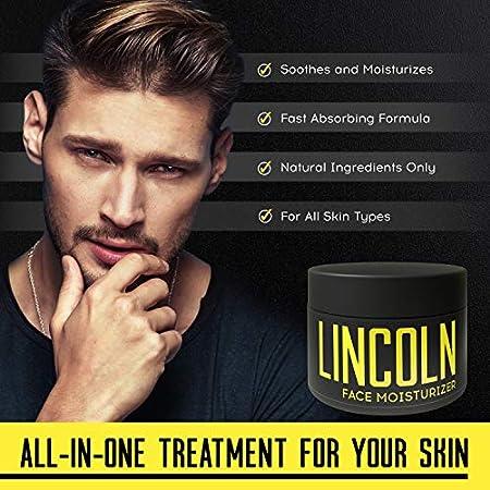 LINCOLN Crema Hidratante Facial Hombre - Crema Hidratante Hombre Natural - Crema Hombre Facial para Piel Grasa e Hidratación de la Piel Sensible - Crema Cara Hombre - Cuidado Facial Hombre - 100 g