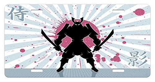 Lunarable Japanese License Plate, Cartoon Dark Samurai in Body Armour with Helmet on Sunburst Vintage Illustration, High Gloss Aluminum Novelty Plate, 5.88 L X 11.88 W Inches, Pink Black
