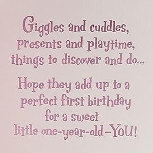 Hallmark 1st Birthday Card for Girls (Disney Princesses)