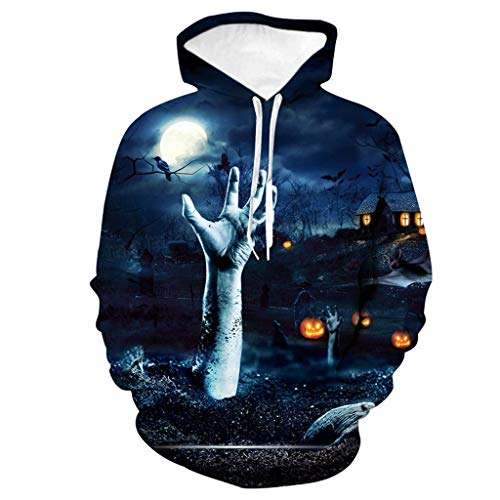 Simple Halloween Dessert Ideas (FEDULK Halloween Unisex Hooded Pullover Sweatshirt Scary 3D Hand Pumpkin Print Long Sleeve Couples Blouse Tops(Blue,)