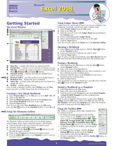 Microsoft Excel 2008 for Mac Quick Source Reference Guide: Quick ...