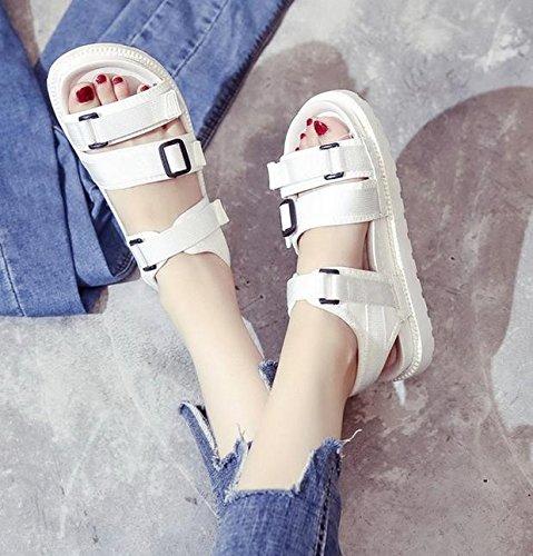 Student flache Schuhe wilde magischer Knopf rutschfester Schuh dicke Kruste Muffin White