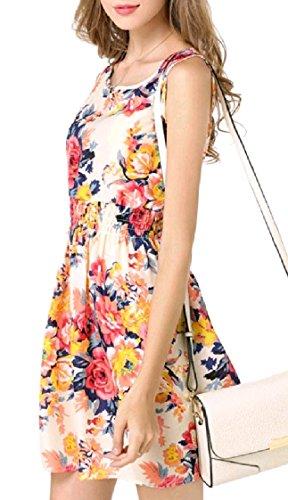 Plus Printed Coolred Pattern1 Floral Women Size Chiffon Sleeveless Mini Dress TIqqpw7