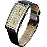 SOKI Beige Dial Dual Timezone Womens Analog Quartz Leather Band Wrist Watch