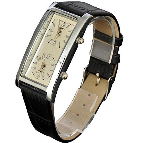 SOKI Beige Dial Dual Timezone Womens Analog Quartz Leather Band Wrist (Womens Dual Time Watch)