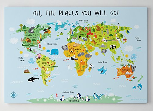 Baby Shower Gifts, World Map Canvas for Kids by Pictureta, Unique Baby Gift, Educational Kids Wall Décor for Baby's Nursery or Playroom (36''W x 24''H, Blue) by Pictureta