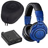Audio Technica ATH-M50X Headphones + Slappa Case + Headphone Amplifier (Limited Edition Blue)