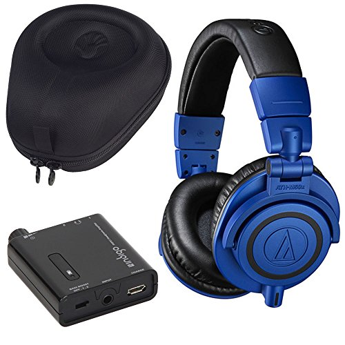(Audio-Technica ATH-M50xBB Professional Monitor Over-Ear Headphone Bundle with Indigo PHPA1 Portable Headphone Amplifier and Slappa SL-HP-99 HardBody Case)