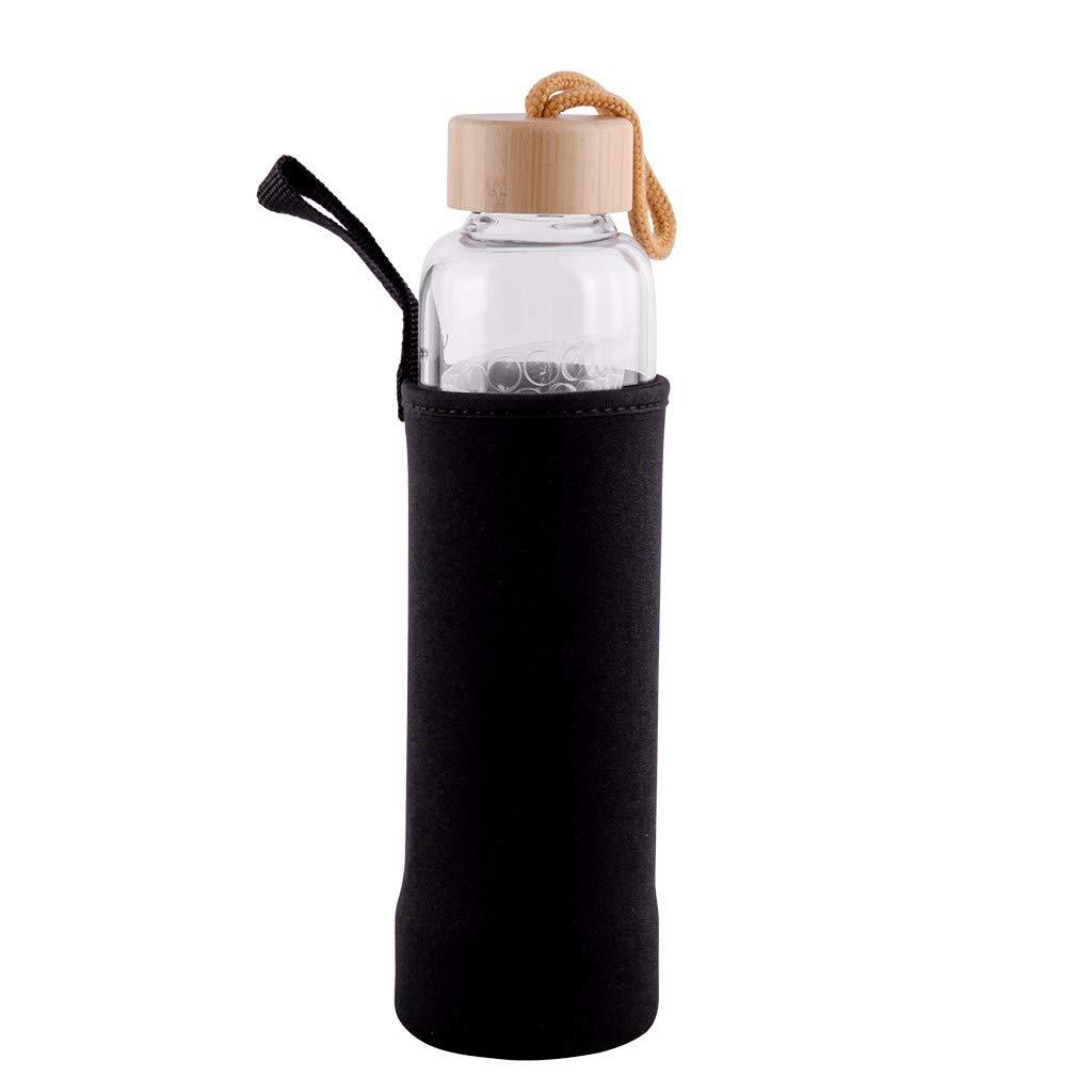 Botella de Agua 100/% Cristal Natural curativa del Cuarzo 500 ML para Hacer el GemWater infundido cristalino-Incluye Las Piedras de Gema y la Manga Protectora del Neopreno MXJEEIO D1