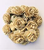 20 pcs Big Beige Rose Color Mulberry Paper Flower 50 mm Scrapbooking Wedding Doll House Supplies Card by' Thai Decorated