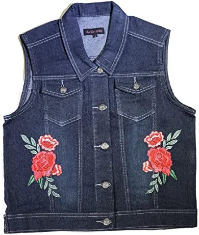 96bb4a1287990 KoKoAllis Koko Allis Womens Casual Sleeveless Denim Cropped Embroided Vest  Jacket From Missy To Plus Sizes
