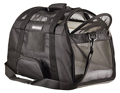 Airline Cat Carrier Under Seat Travel Bag by Caldwell's Pet Supply Co. with 2 Bolster Beds for Cats