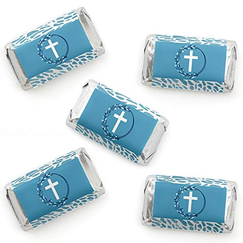 - Big Dot of Happiness Blue Elegant Cross - Mini Candy Bar Wrapper Stickers - Boy Religious Party Small Favors - 40 Count