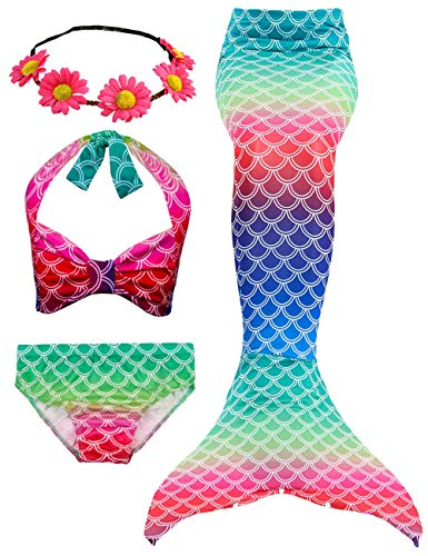 4 PCS Girls Swimsuit Mermaid Tail for Swimming Kids Mermaid Swimwear Set Bathing Suit Princess Costumes (with -