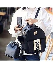 ZHANGYOUDE PU Leather Double Shoulders School Bag Travel Backpackage Bag (Black) (Color : Black)