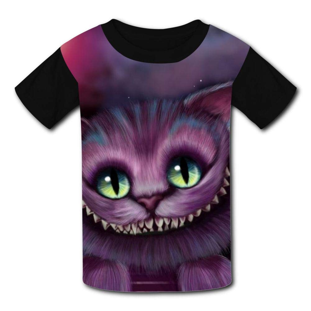 Joess Che-Shire-Cat Unisex 3D Printed Crew Neck Tee Shirt for Children Boys Girls