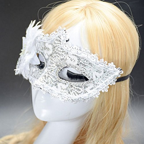 Halloween white dressup lace lily floral princess cosplay masquerade half face mask