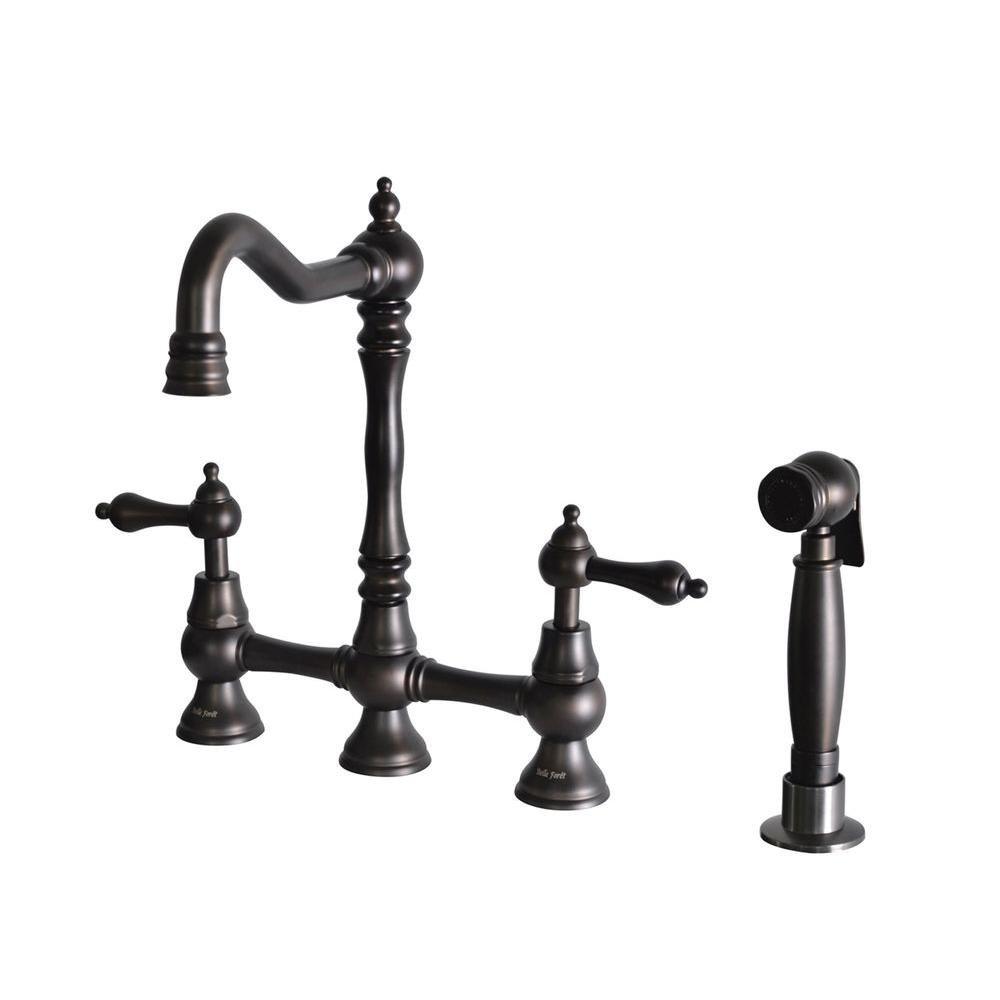 Belle Foret OB-WH27215 2-Handle High-Arc Bridge Kitchen Faucet with ...