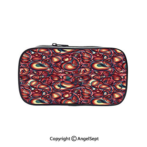 Big Capacity Pencil Case 1L Storage,Modern Paisley Pattern with Ethnic Sprit in a Funky Inspired Graphic Design Print Multi 5.1inches,Desk Pen Pencil Marker Stationery Organizer with Zipper for Schoo]()