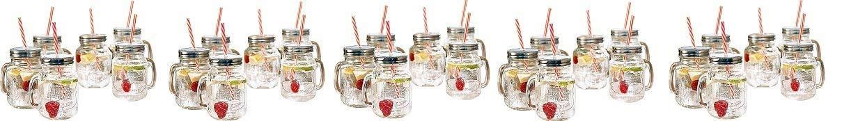 Estilo Mason Jar Mugs with Handle and Straws Old Fashioned Drinking Glass Set 6, 16 oz Each (5-(Pack))