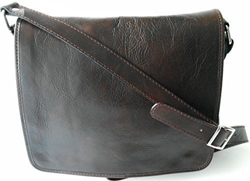 bolso de piel hombre , bandolera de piel color marron