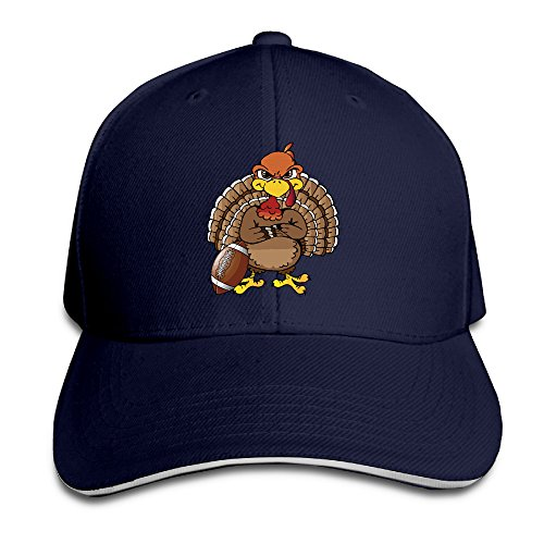 Cartoon Turkey Play Football Sandwich Adjustable Peaked Bill Hat One Size Navy