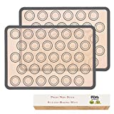 Silicone Macaron Baking Mats Set of 2 Half Sheet Non-Slip Baking Mat Silicone Pastry Mat Tool for Baking and Cooking Non-Stick Pastry Mats for Macaroons Pastries Biscuits Breads(16.5x11.6 Inch)