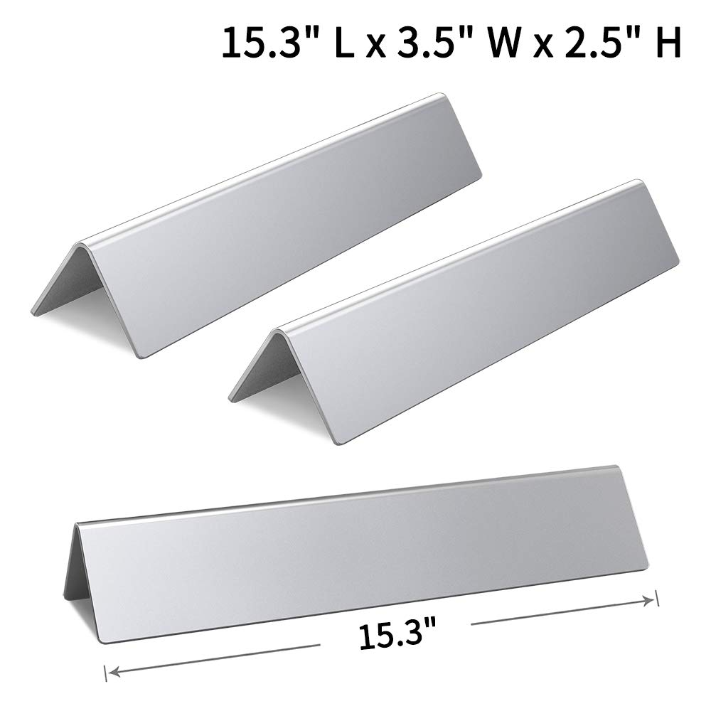 SHINESTAR 7635-15.3 inch Stainless Steel Grill Parts for Weber Spirit 210 E210 200 Flavorizer Bars Replacement with Front Control Knobs (Set of 3, SS-WB005) by SHINESTAR