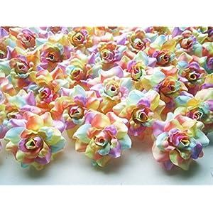 "(100) Silk Light Rainbow Roses Flower Head - 1.75"" - Artificial Flowers Heads Fabric Floral Supplies Wholesale Lot for Wedding Flowers Accessories Make Bridal Hair Clips Headbands Dress 2"