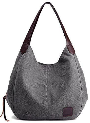 ArcEnCiel Fashion Women's Cotton Canvas Handbags Shoulder Bags Totes Purses (Gray)