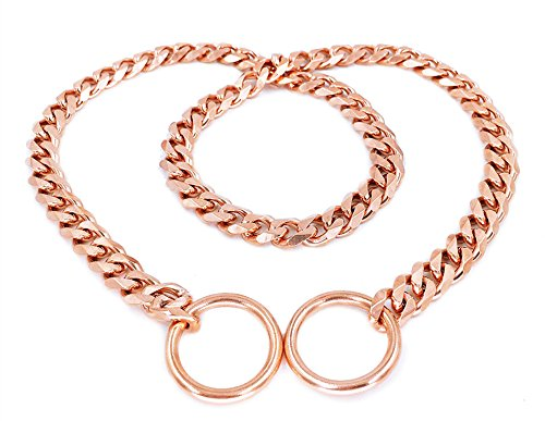SLZZ Luxury Dog Choke Collar/Slip Martingale P Chain/Heavy Duty Stainless Steel 12mm Curb Chain/Best for Small Medium Large Breeds/Rose Gold,22''