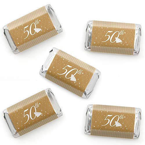 (50th Anniversary - Mini Candy Bar Wrapper Stickers - Wedding Anniversary Party Small Favors - 40 Count)