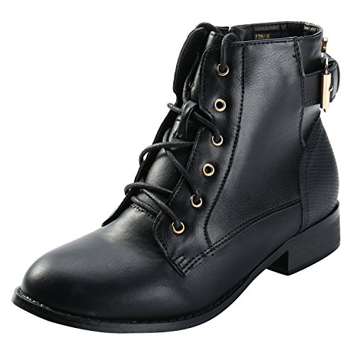 Studded Vintage Skirt (ALEXIS LEROY Women Vintage Studded Lace up Buckle Combat Low Heel Short Martin Booties Black 39 EU/8-8.5 US)