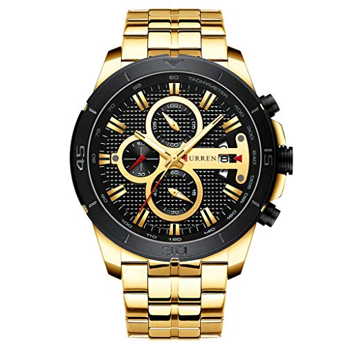LUCAMORE Mens Analog Quartz Watch Fashion Casual Business Dress Wristwatch Waterproof 30M Water Stainless Steel Band