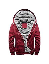 Willsa Mens Pullover Hoodie Winter Warm Zipper Jacket Outwear Thick Coats