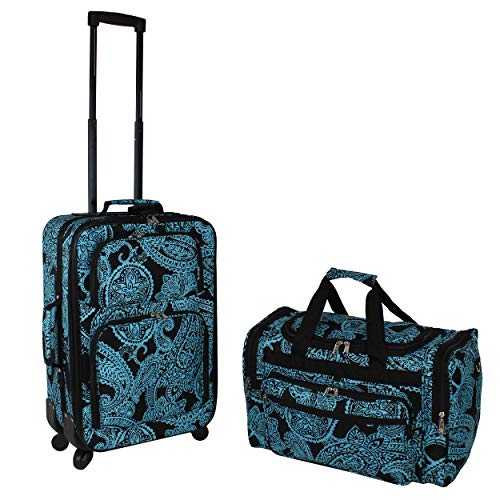 World Traveler 2-Piece Carry-on Expandable Spinner Luggage Set-Black Blue ()