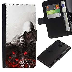 LECELL--Cuero de la tarjeta la carpeta del tirón Smartphone Slots Protección Holder For HTC One M8 -- Asesinos Pintura --