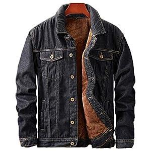 Men's Fleeced Denim Jacket Black Winter Fall Warm Cowboy Coat Outerwear Parka