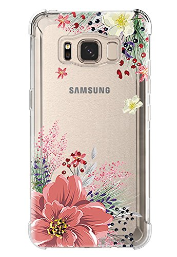 Galaxy S8 Active Case,Samsung Galaxy S8 Active Case with Flower,LUOLNH Slim Shockproof Clear Floral Pattern Soft Flexible TPU Back Cover for Samsung Galaxy S8 Active (Pink)