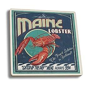 Lobster Vintage Sign - Rockland, Maine (Set of 4 Ceramic Coasters - Cork-backed, Absorbent)