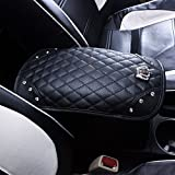 universal car armrest - Car Armrest Cover Center Console Cushion Lid Handrail Box Pad Soft PU Leather + Bling Crown Decoration Cushion (Armrest Cover)