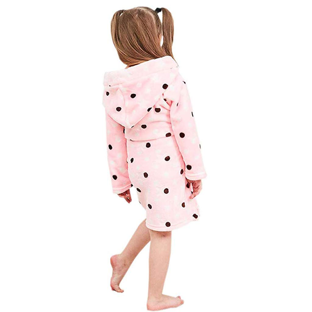 Danhjin Kid Kids Plush and Soft Fleece Shawl Bathrobe for Girls and Boys Bathrobes Hoodie Towel Pajamas Night Gown