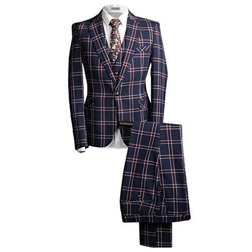 YFFUSHI Mens Retro Plaid One Button 3 Pcs Suit Blazer Jacket Tux Vest & Trousers