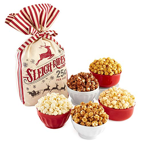 The Popcorn Factory Gift Set Holiday Gift Sack 5 Bags 3lbs Caramel White Cheddar (3 pound RED SACK)
